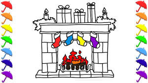 Fireplace Decorations With Christmas Gifts Coloring
