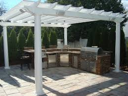 paver patio with pergola. Paver Patio, Vinyl Pergola, Outdoor Kitchen \u0026 Low Voltage Lighting Patio With Pergola