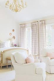 Alyssa Rosenheck: White and Pink French Bedroom with Pink Plaid Curtains