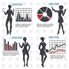 Free Charts And Graphs Business Woman Silhouettes With Charts And Graphs Stock Vector Image