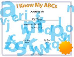 free preschool certificates i know my abcs printable certificates preschool