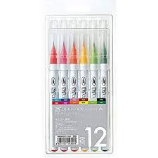 Kuretake Fude Brush Pen Clean Color Real 12 Colors Set Rb 6000at 12va