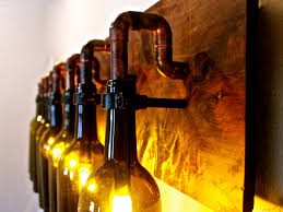 wine bottle lighting. Interesting Wine Wine Bottle Light Lamp  Industrial Vanity Sconce Chandelier  54200 Via Etsy And Lighting