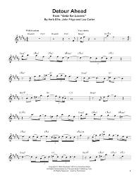 Tenor Sax Chart Detour Ahead Tenor Sax Transcription Print Sheet Music Now