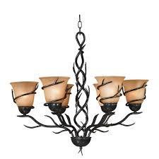 twigs 6 light bronze chandelier