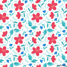 Cute Elegant Floral Hand Drawn Seamless Pattern Red And