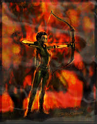 hunger games drawing katniss on fire bow hunter