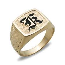 14k gold mens ring with raised enamel initial please contact customer service to request an