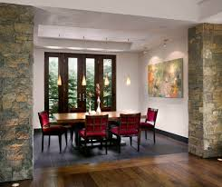 Tile to Wood Floor Transition Dining Room Contemporary with Art Wall Beige  Wall