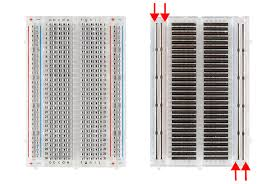 front and back medium breadboard with power rails exposed
