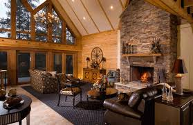 cool log cabin bedroom with fireplace amazing home design