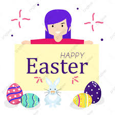 Easter Template Easter Template Banner With Happy Girls Easter Eggs