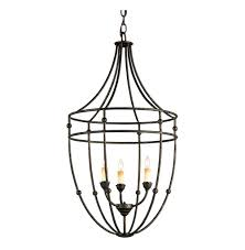 french country black metal frame 3 light lantern pendant kathy kuo home