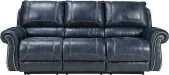 navy leather power reclining sofa blue