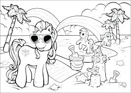 Summer Coloring Pages Kids On Beach Printable Animals Online Disney