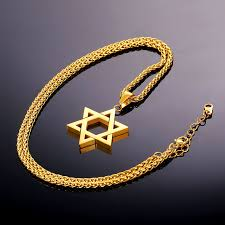 star of david pendant necklace gold color stainless steel necklace p723 kwn