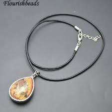 details about natural yellow phantom quartz meal frame stone pendant black cord chain necklace