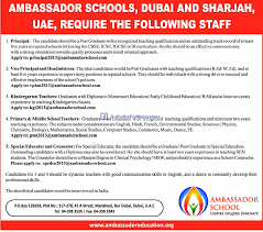 Teacher Vacancy In Sharjah Schools Great Teacher 2017