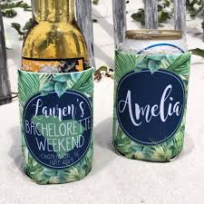 Beach Koozie Designs Bachelorette Party Beach Vacation Koozies Or Neoprene Coolies Tropical Palm Leaves State