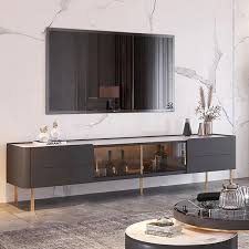 tv stand stone top 2 drawer glass doors