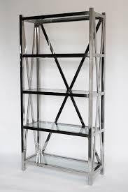 chrome and glass shelving unit