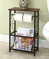 Decorative Bathroom Toilet Paper Storage Table Restroom with Metal Frame  Magazine Rack