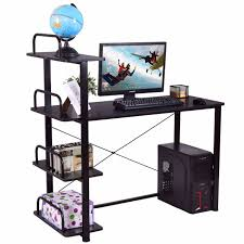 office desk shelves. Goplus 4 Tiers Computer Desk Wood Laptop Writing Table With Shelves WorkStation Home Office Modern P