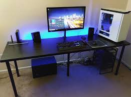 cool computer desk setup with black ikea desk linnmon adils