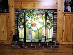 stained glass fireplace doors image of vintage screen fireplaces s