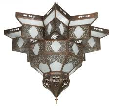 large moroccan star shape frosted glass shade