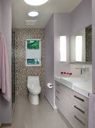 Tiny Contemporary Purple Bathroom With Tile Accent Wall (Image 14 of 14)