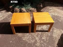2 x big solid oak side tables 500x500x410