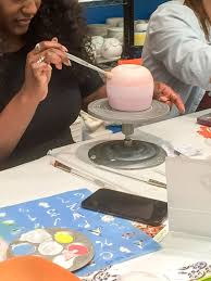 girls night out at the mad potter in houston texas with pottery painting