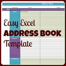 Contact List Spreadsheet Template Easy Excel Address Book Template Address Book Template