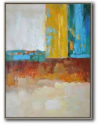 extra large paintings vertical palette knife contemporary art contemporary art canvas painting white grey yellow blue
