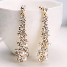 elegant chic women lady s pearl rhinestone dangle chandelier earrings jewelry