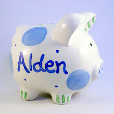 personalized piggy bank boy piggy banks personalized ceramic piggy bank blue polkadot baby boy new baby gift hand painted ceramic