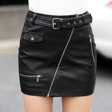 2017 spring women s leather skirt fashion zipper pockets a line empire pu package hip motorcycle leather short skirts womens