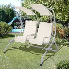 garden patio metal swing chair seat 2 seater hammock swinging cushioned w 2 tray