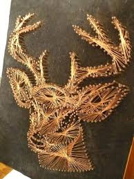 copper wall art home decor vintage copper nail and wire deer head wall art  on black