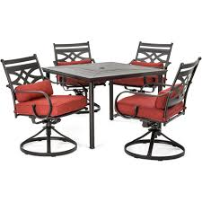 hanover montclair 5 piece metal outdoor dining set with chili red cushions swivel rockers