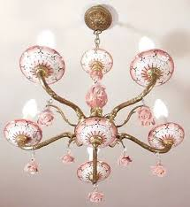 divine french vintage pink white and gold 5 light ceramic chandelier