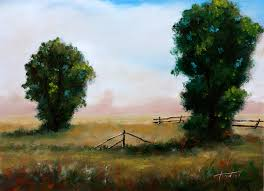 two trees in a meadow original oil painting on hdf by artist darko topalski