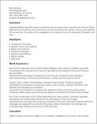 Billing Specialist Resume Template