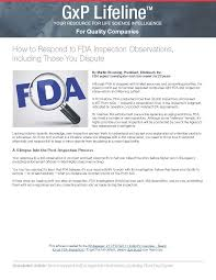 how to respond to fda inspection observations including those you dispute