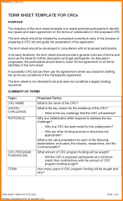 program sheet template term sheet template