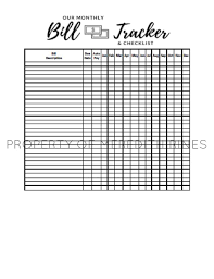 Debt Tracker Spreadsheet Monthly Bill Tracker Printable Bill Tracker Spreadsheet Budget Pdf