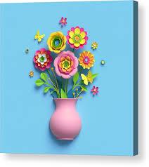 Paper Flower Bouquet In Vase 3d Render Craft Paper Flowers Pink Vase Floral Bouquet Botanical Arrangement Bright Candy Colors Nature Clip Art Isolated On Sky Blue