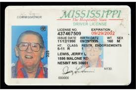 L Jerry Of Issued To By State Lewis Mississippi License Driver's Lee The A