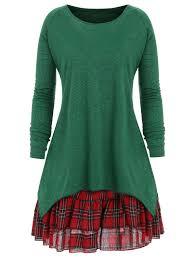 Plus Size Check Two Piece Dress